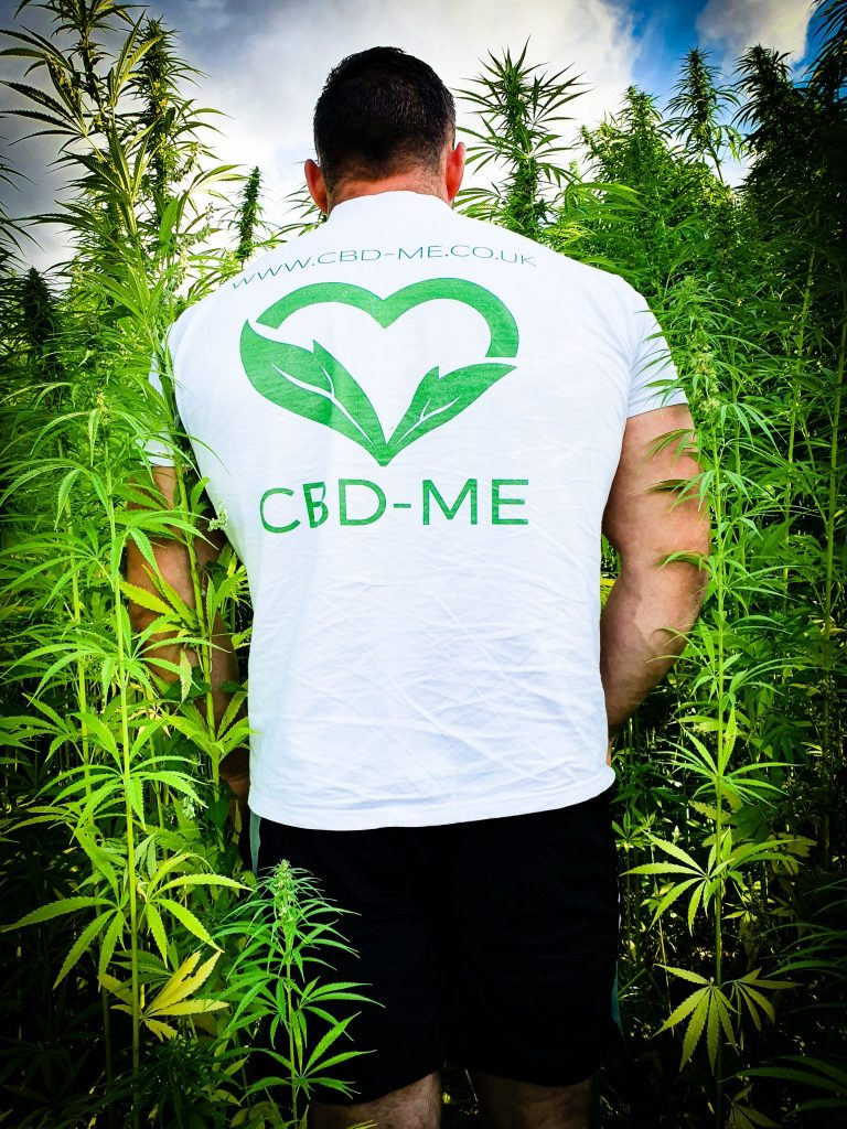 Cannabidiol (CBD) Hemp field blue sky man in CBD ME t-shirt